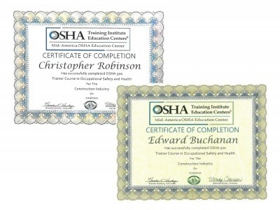 Chris Robinson and Ed Buchanan Pass their OSHA 500